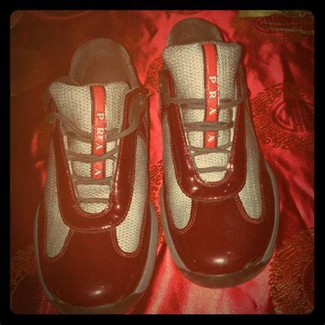 maroon prada sneakers 40 prada shoes burgundy pradas size 36 from