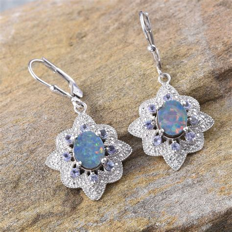 nickel free earrings australia australian boulder opal ovl tanzanite lever back earrings in platinum overlay sterling silver