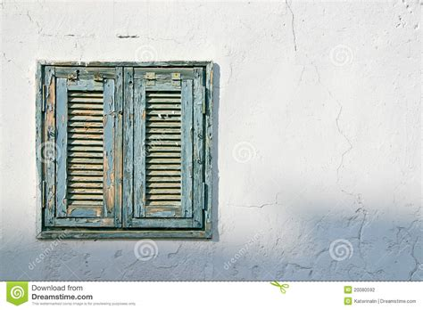 Free A Frame House Plans The Old Window With Blue Shutters On A White Wall Stock