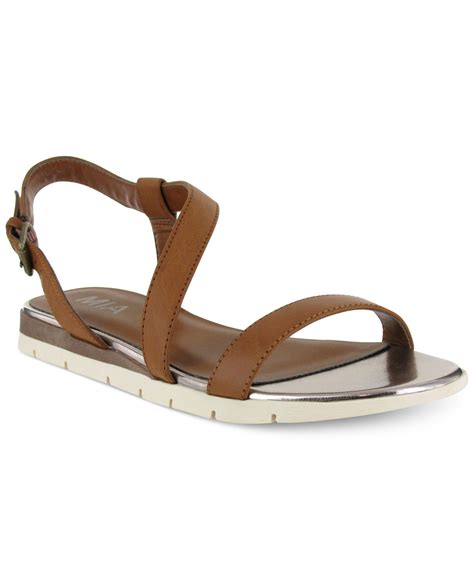 mioa sandals lyst baseline flat sandals in brown