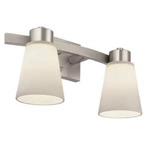 Lowes Bathroom Light Fixtures Brushed Nickel Portfolio 2 Light Brushed Nickel Bathroom Vanity Light Lowe S Canada