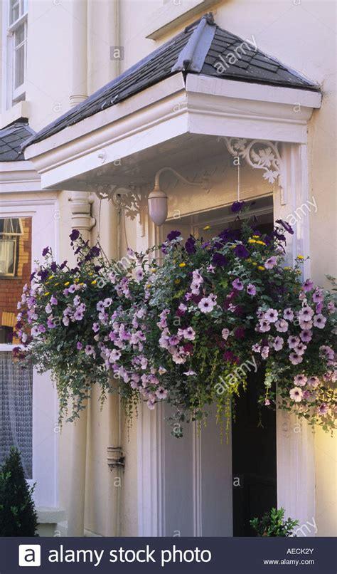 Usk Gwent Hanging Baskets Either Side Of Front Door Garden Hanging A Front Door