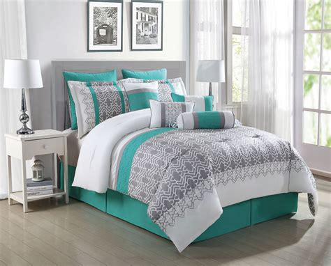 Teal Bedroom Set by 10 Teal Gray White Reversible Comforter Set