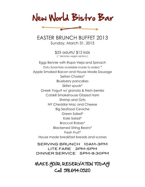 Easter Sunday Buffet Brunch New World Bistro Bar Menu For Brunch Buffet