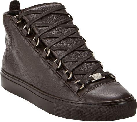balenciaga sneakers for balenciaga arena hightop sneakers in brown for lyst