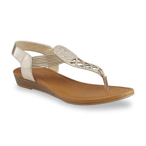 attention s elliana gold wedge sandal shop your