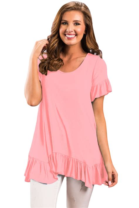 ruffle trim sleeve top us 7 36 pink ruffle trim sleeve flowy top dropshipping