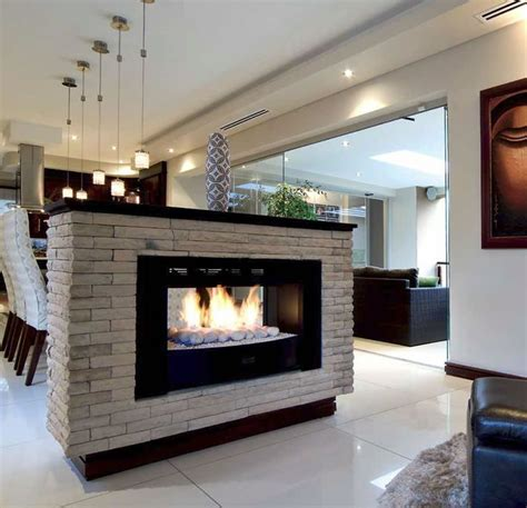 Home Styled With Free Standing Two Sided Fireplace Open Sided Fireplace Design