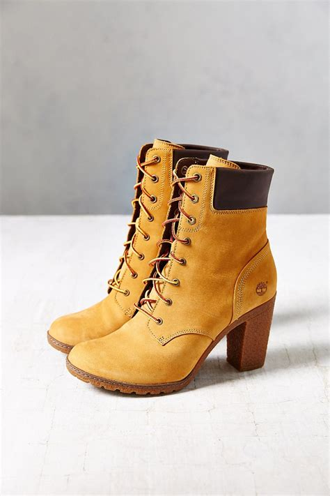 timberland boots for womens high heels timberland glancy wheat heeled boot in brown lyst
