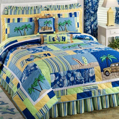 Colorful Bed Quilts by Colorful Bedding Sheet Plus Stripped Pattern Also Combined With Sea Creatures And Coconut Trees