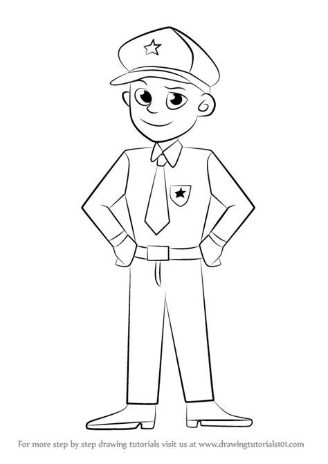How To Draw A Policeman In learn how to draw a policeman other occupations step by