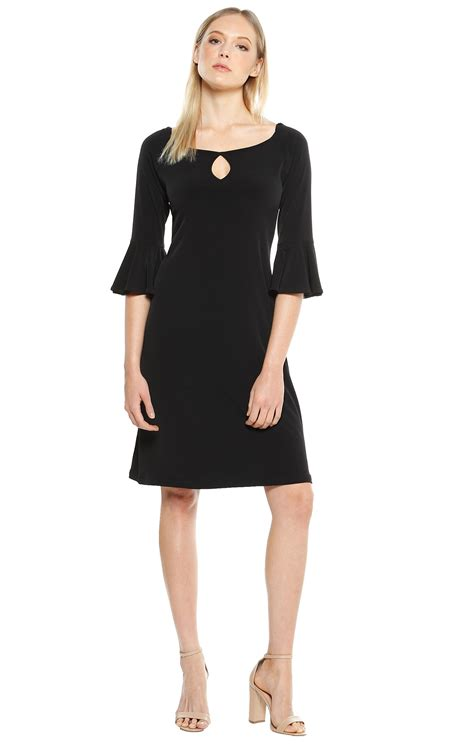 Dress Tunic Halus Bk shop all solutions flute sleeve knee length stretch jersey tunic dress in black