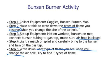 j7 using the bunsen burner wk