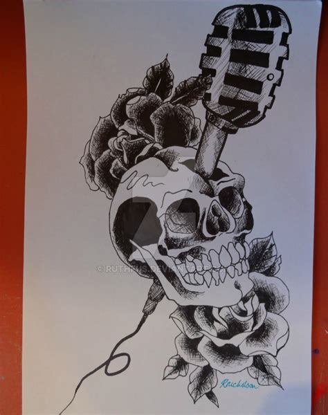 tattoo old school rose and skull old school skull microphone and roses tattoo by ruthfus