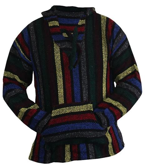 rug jacket mexican poncho baja hoodie surfer skater rug jacket multi color striped ebay