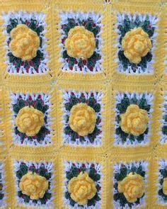 crochet rose granny square afghan  pattern crochet