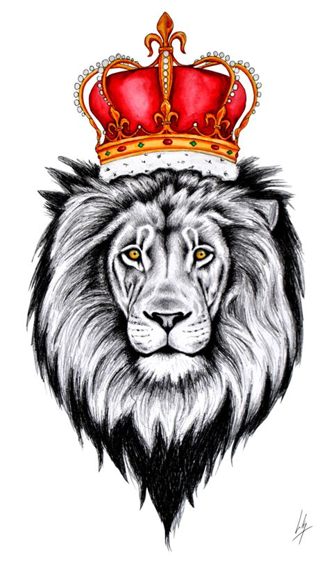 crown lion tattoo with crown drawing search tattoos inspo