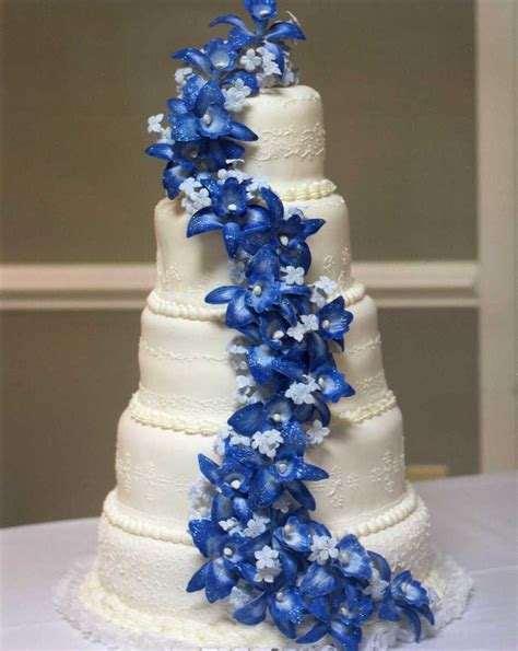 Blue Wedding Cakes With Prices by Blue Orchid Wedding Cake Cakecentral