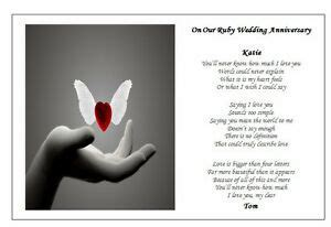 Personalised Wedding Anniversary POEM Gift   ADD ANY NAME