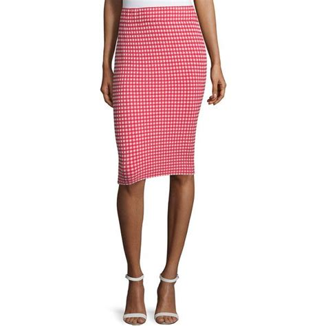 jonathan simkhai gingham stretch pencil skirt 305 liked