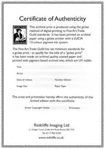 limited edition print certificate of authenticity template exles of certificates on the back of original
