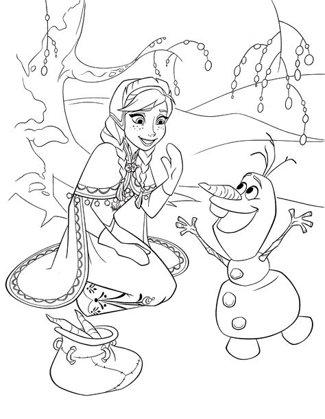 walt disney coloring pages princess anna olaf walt