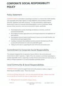Corporate Social Responsibility Policy Template templates corporate social responsibility policy