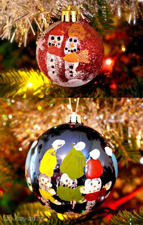 easy kid ornaments fingerprint snowmen ornaments ornaments for