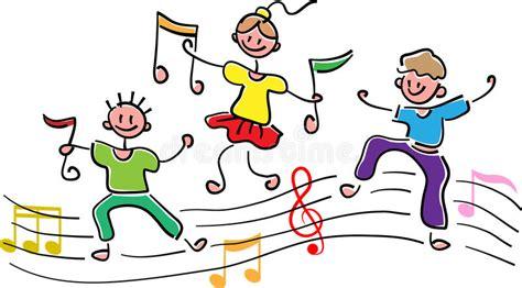 clipart note musicali bambini felici con le note musicali illustrazione