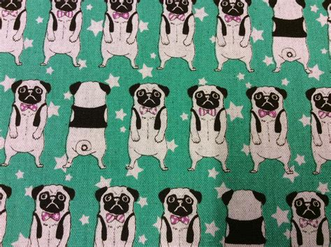 pug material uk quarter pug dogs pugs on linen look green 100 cotton quilting fabric japan ebay