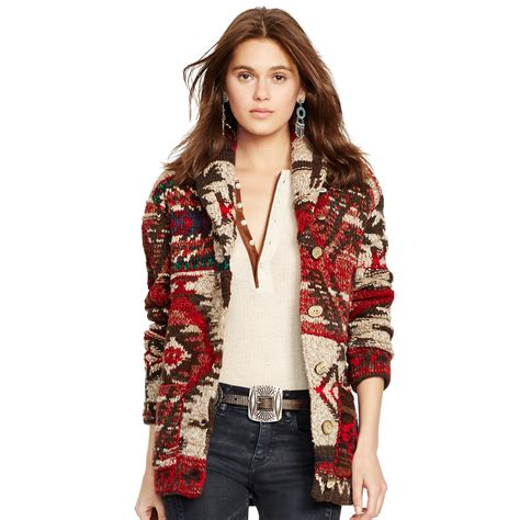Patchwork Cardigan - polo ralph patchwork shawl cardigan in lyst
