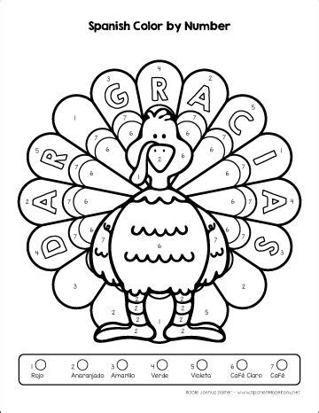 Thanksgiving Coloring Page In Spanish | thanksgiving turkey coloring pages in both english and