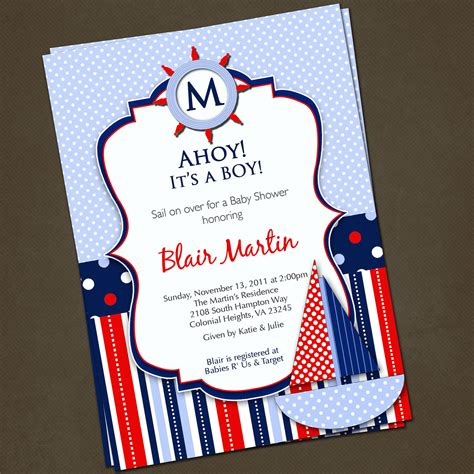 Baby Shower Nautical Theme Invitations by Free Printable Birthday Invitations