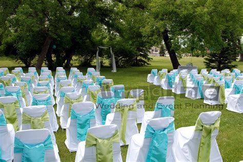 lime green and turquoise wedding   chair covers complete