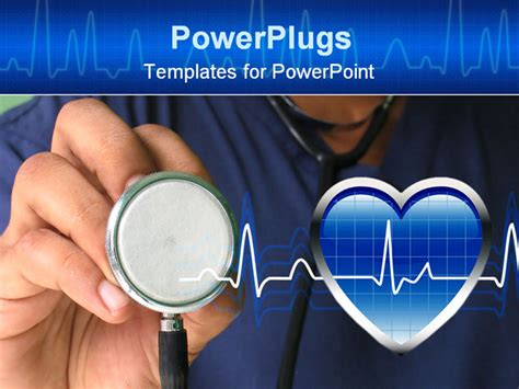 nursing powerpoint template holding stethoscope powerpoint template