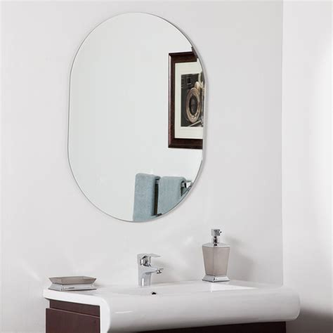 frameless beveled bathroom mirrors shop decor wonderland khloe 31 5 in h x 23 6 in w oval