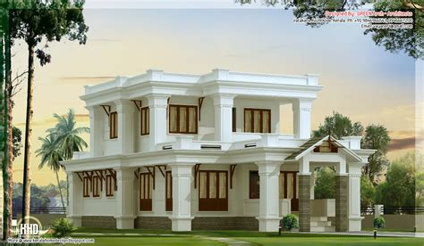 mansions designs 2300 sq feet flat roof villa design kerala home design