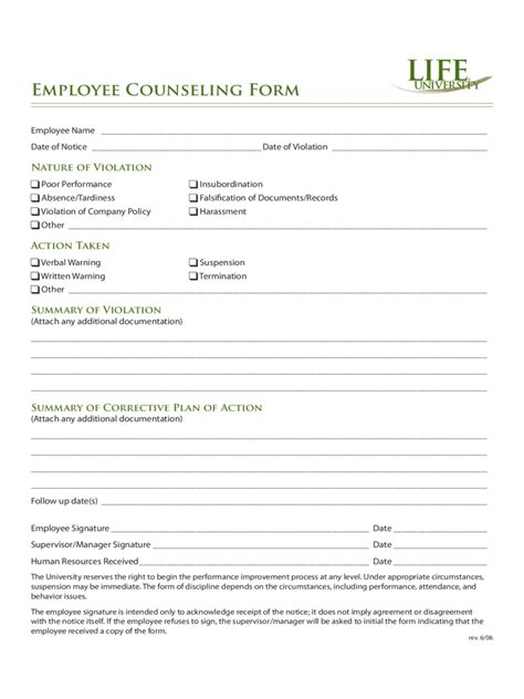 employee counseling form 2 free templates in pdf word