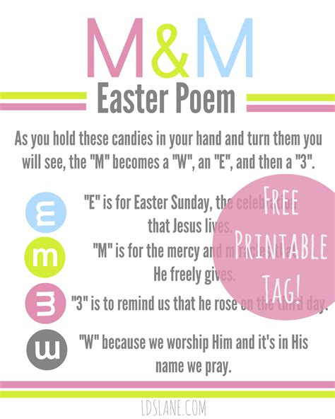free easter speeches free printable easter m m poem tags u create