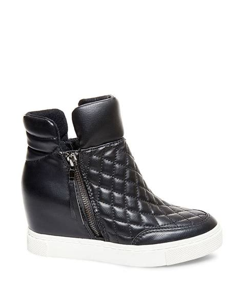 Steve Madden Quilted Sneakers For by Steve Madden Linqs Quilted Leatherette High Top Sneakers In Black Lyst