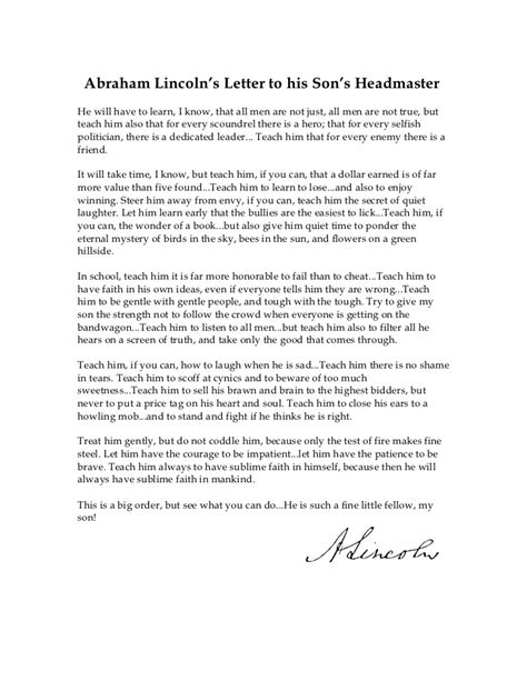 abraham lincoln letter to the abe lincoln s letter to his s headmaster