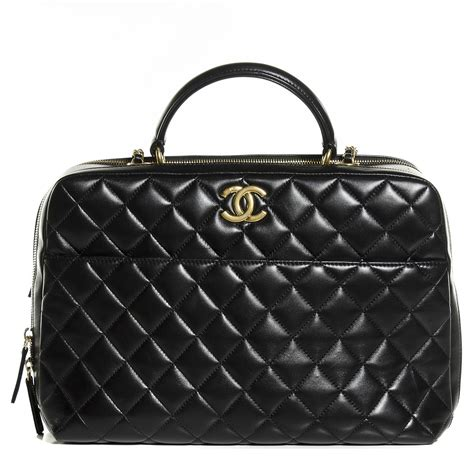 Trendy Large Bags Sure But Is Back In Me Stace by Chanel Lambskin Quilted Large Trendy Cc Bowling Bag Black