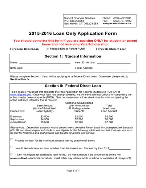 Student Finance Declaration Letter Student Loan Application Form Yale Free