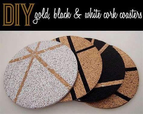 diy gold black and white cork coasters