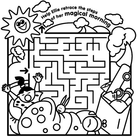 maze coloring pages printable coloring page for kids ellie magical morning maze coloring page crayola com
