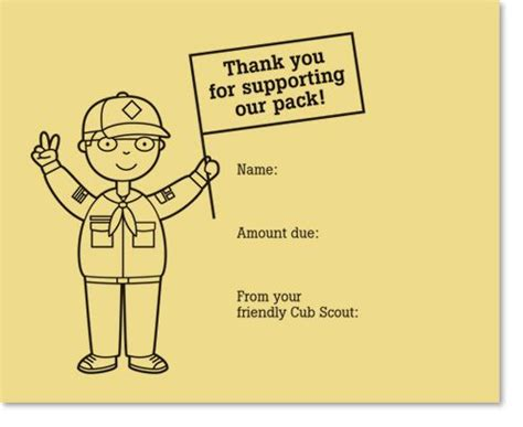 cub scout thank you card template 1000 ideas about cub scout popcorn on scout