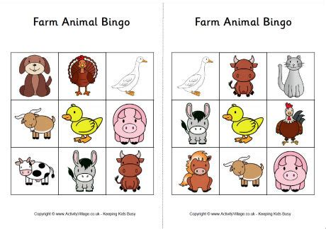 printable animal bingo games farm animal bingo cards