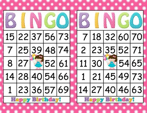 printable games bingo printable bingo birthday girl party game instant download