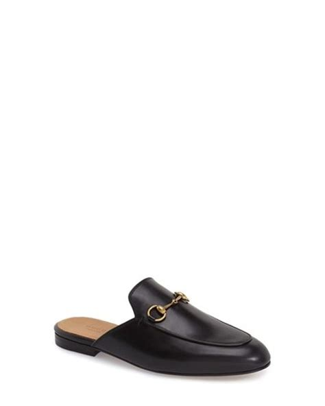 gucci loafers sale womens gucci princetown leather mules in black black leather lyst