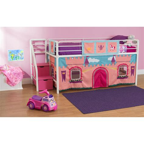 Girls Princess Castle Twin Loft Bed With Storage Steps Pink Bunk Beds For